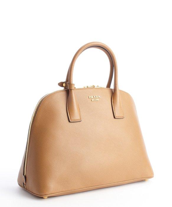 Prada Caramel Leather Medium Bowling Bag in Brown (caramel) | Lyst