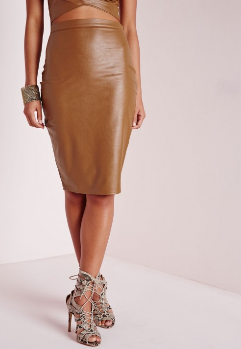 Faux Leather Tan Skirt - Dress Ala