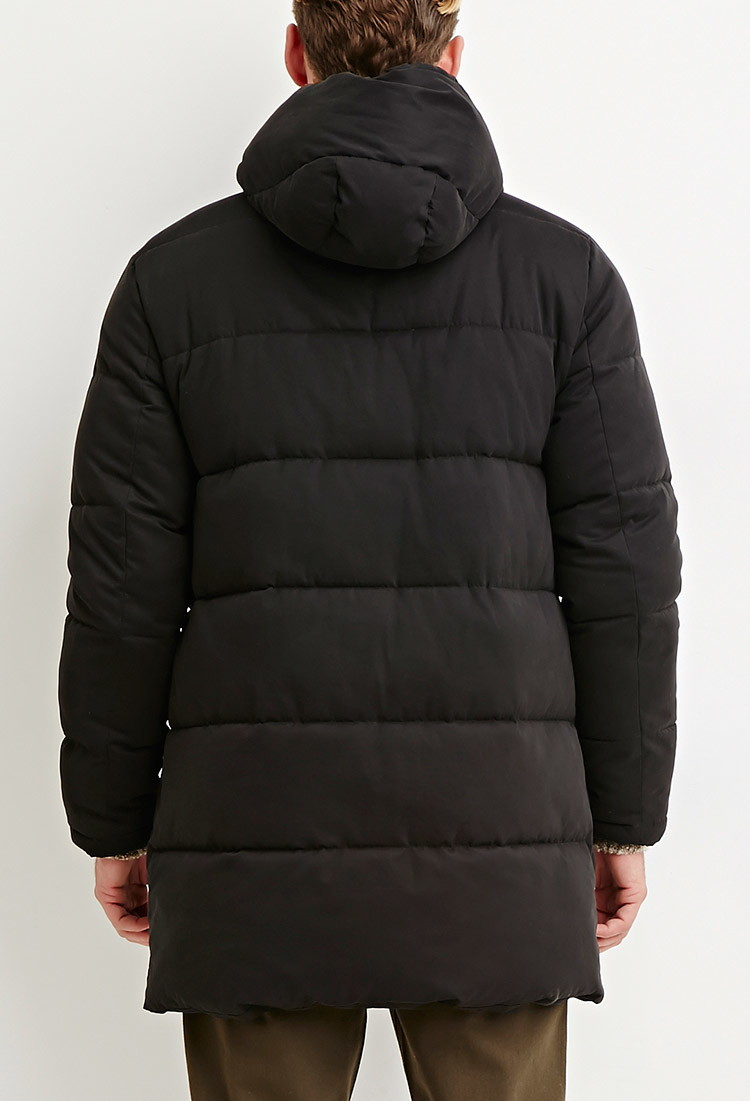 2357e1424 Forever 21 Black Hooded Longline Puffer Jacket for men