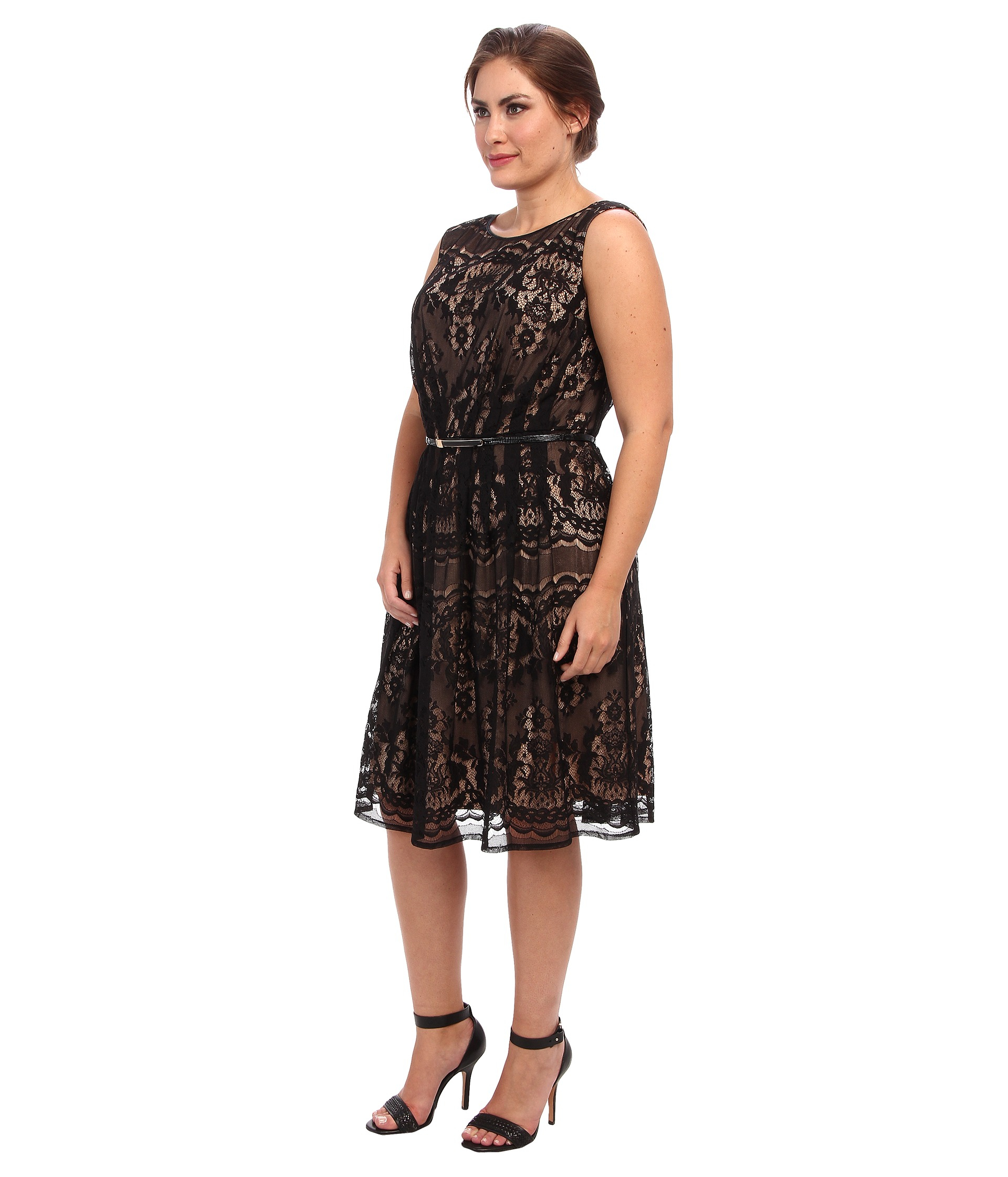 Adrianna Papell Plus Size Romantic Lace Fit Flare In Black