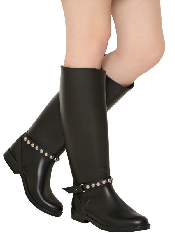 Lyst - RED Valentino 10mm Studded Rain Boots in Black 1fe0236d2d863