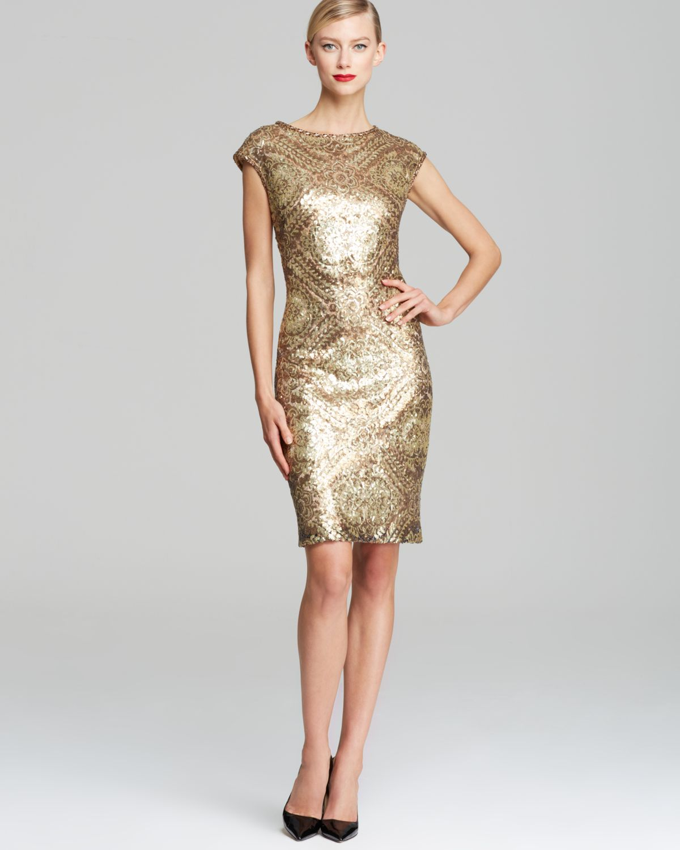 Sue wong Printed Sequin Sheath Dress Cap Sleeve in Metallic | Lyst