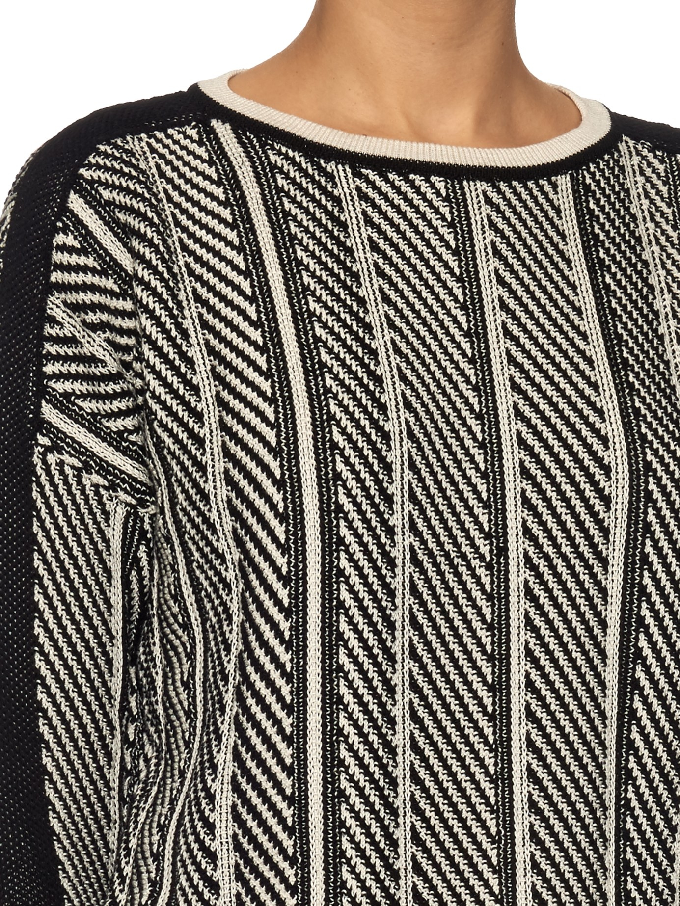 Weekend by Maxmara Cotton Armanda Sweater in Black White (Black)