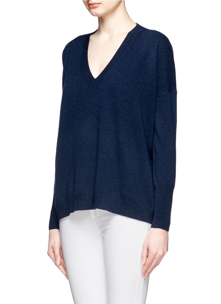 J.crew Collection Cashmere Boyfriend V-neck Sweater in Blue | Lyst