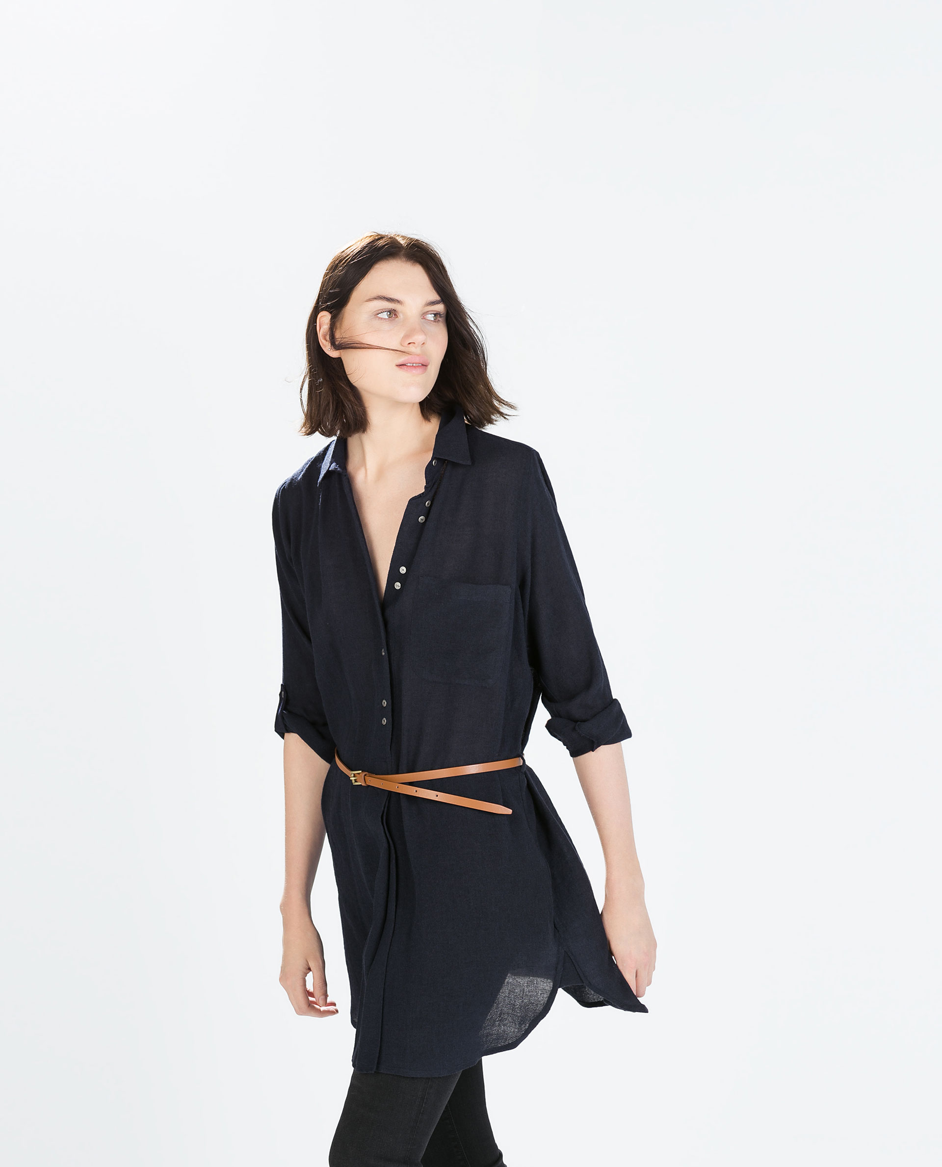 zara shirt dress with belt in blue lyst