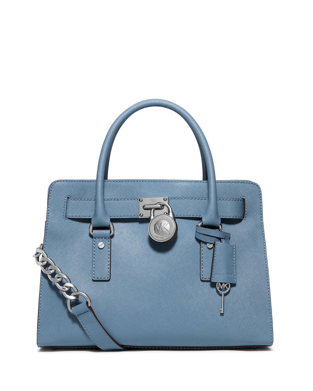 Lyst - MICHAEL Michael Kors Hamilton Saffiano Satchel Bag in Blue b03ce3498fde6