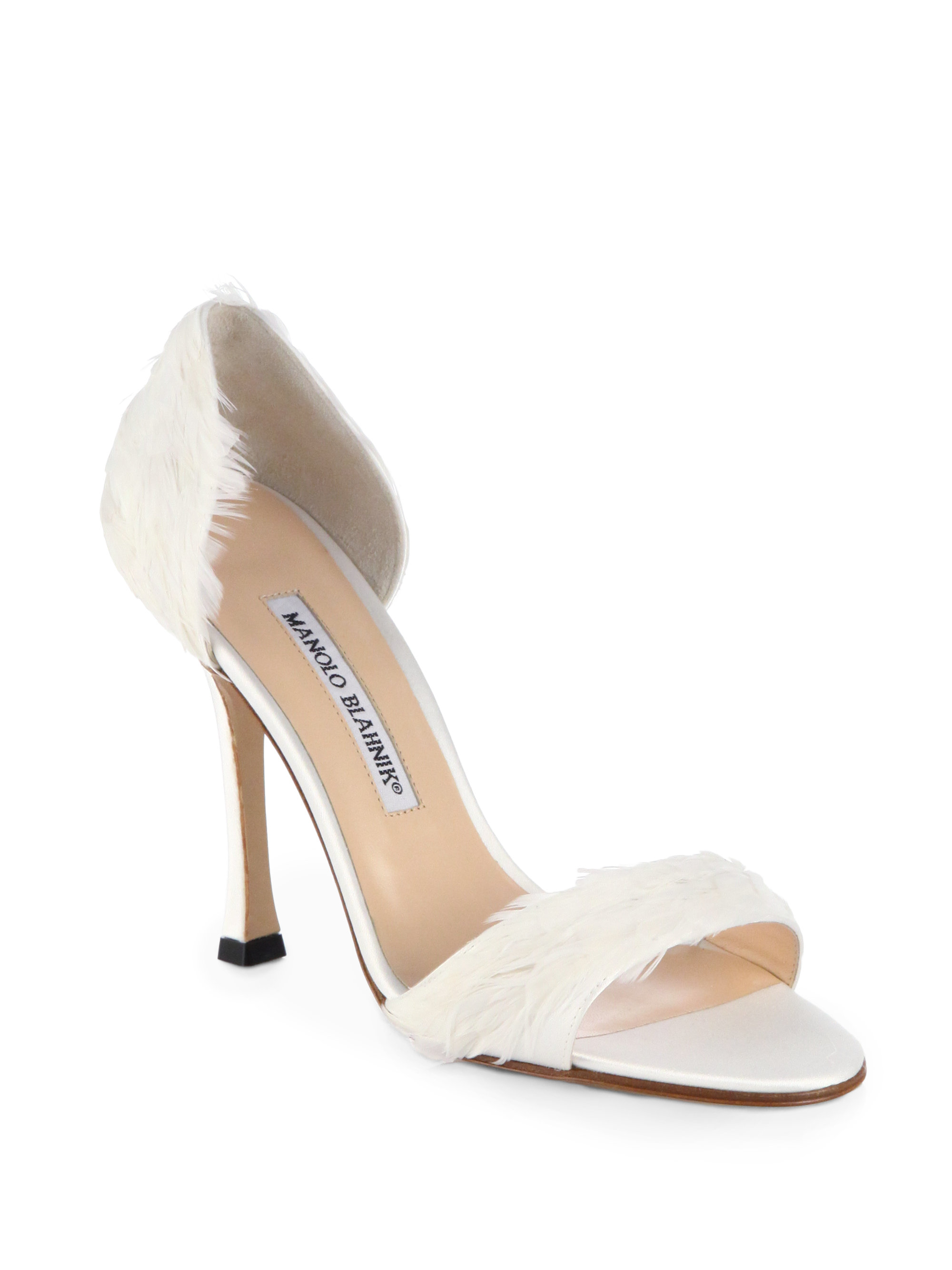 Lyst manolo blahnik catalina d 39 orsay satin feather for Who is manolo blahnik