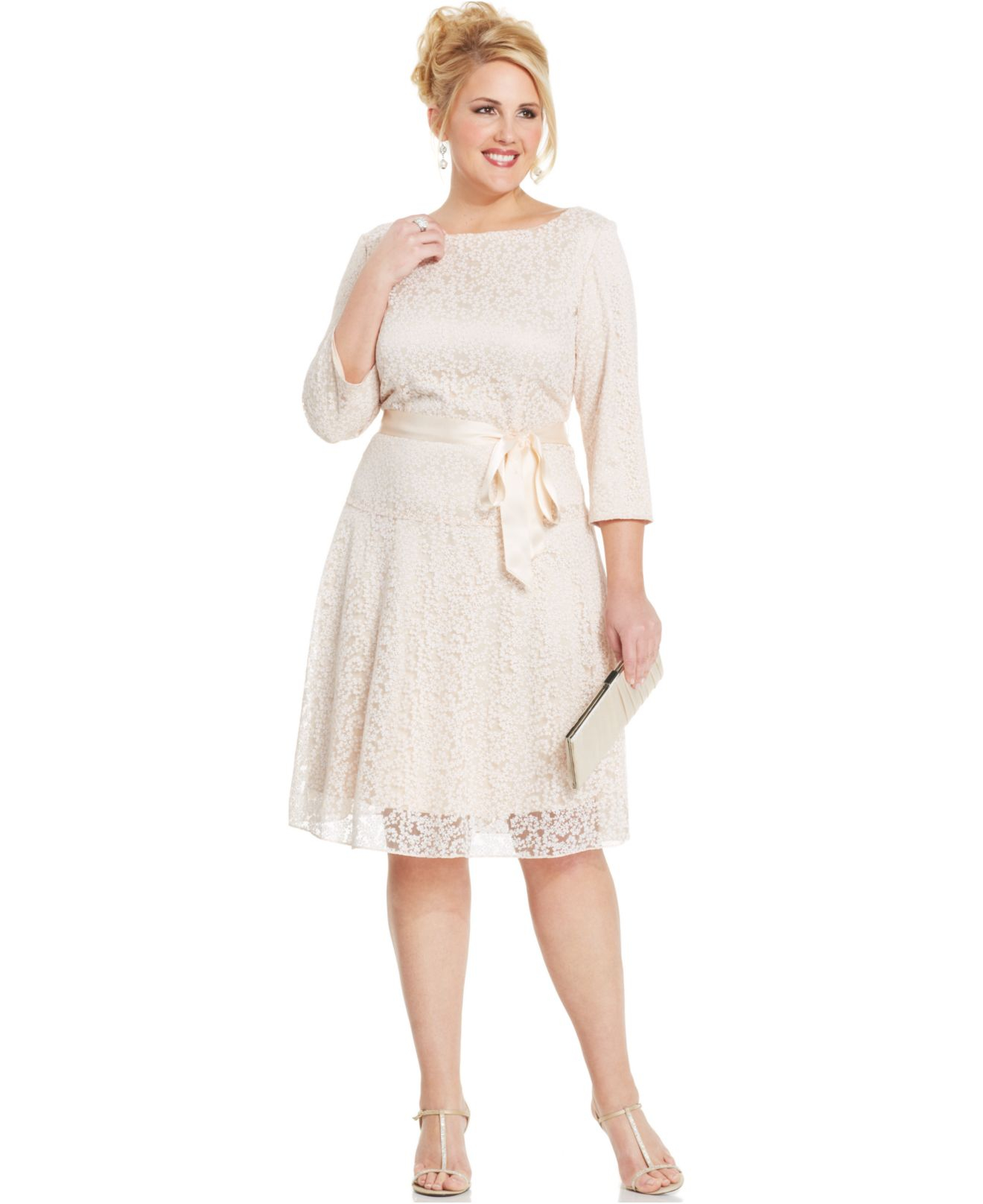 By Asl Plus Size Glitter Lace Belted Dress