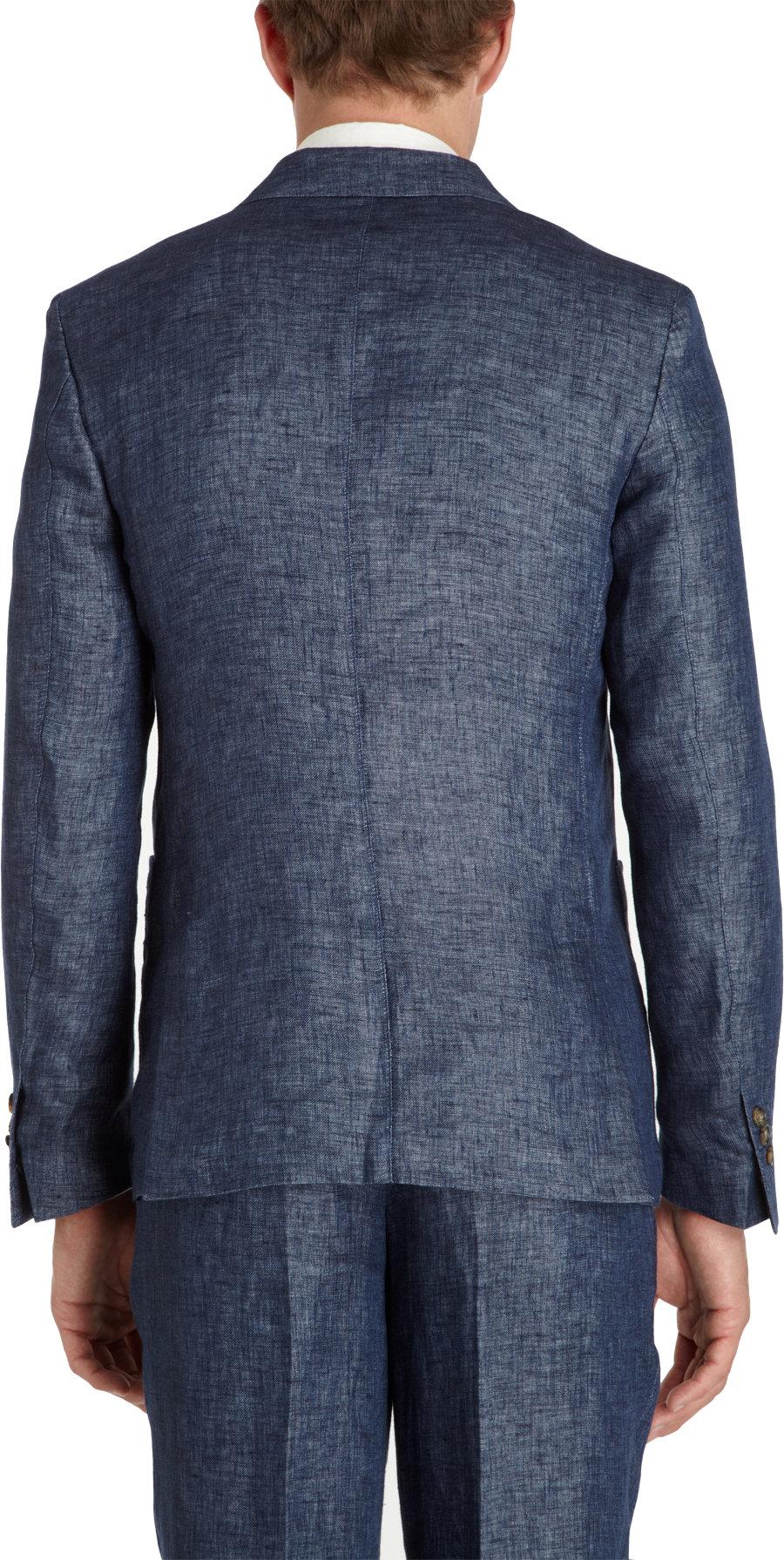 Lyst Ami Linen Twobutton Sport Jacket In Blue For Men
