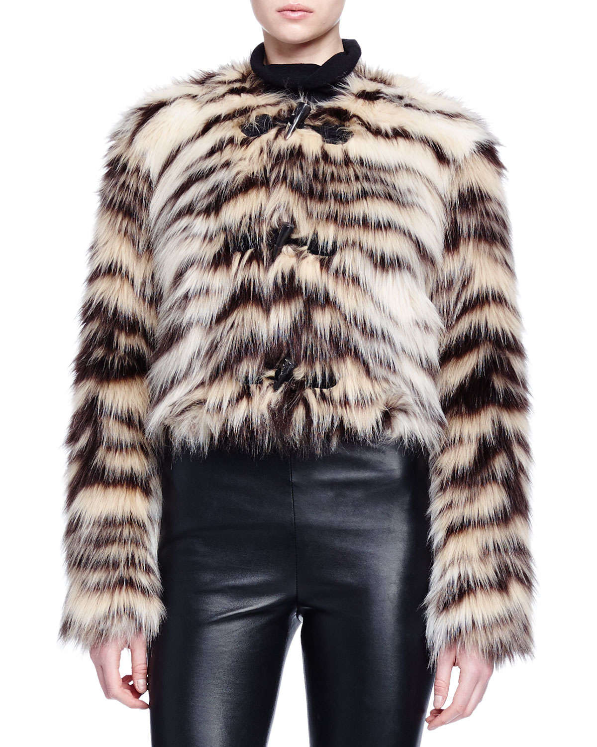 Lanvin Zebra Striped Faux Fur Toggle Jacket Lyst
