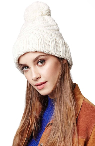 Lyst - TOPSHOP Cable Knit Pompom Beanie in Natural 5f0c85306620