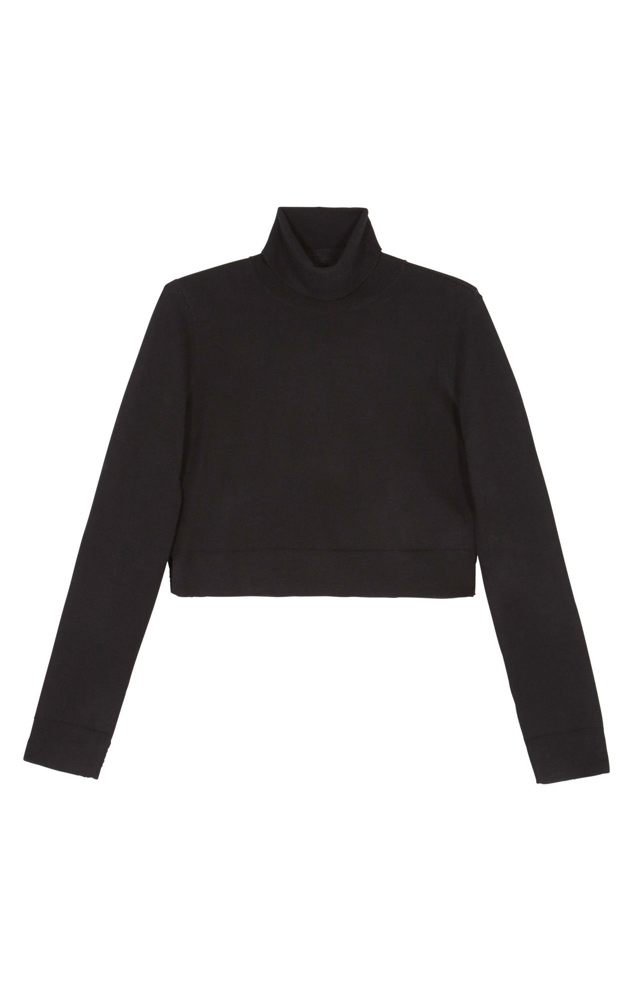 Bcbgmaxazria Natassia Cropped Turtleneck Wool Sweater in Black | Lyst