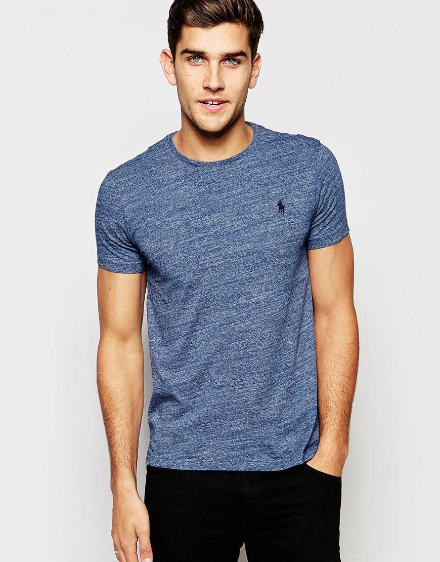 Polo ralph lauren t shirt with polo player logo in blue for Ralph lauren logo shirt