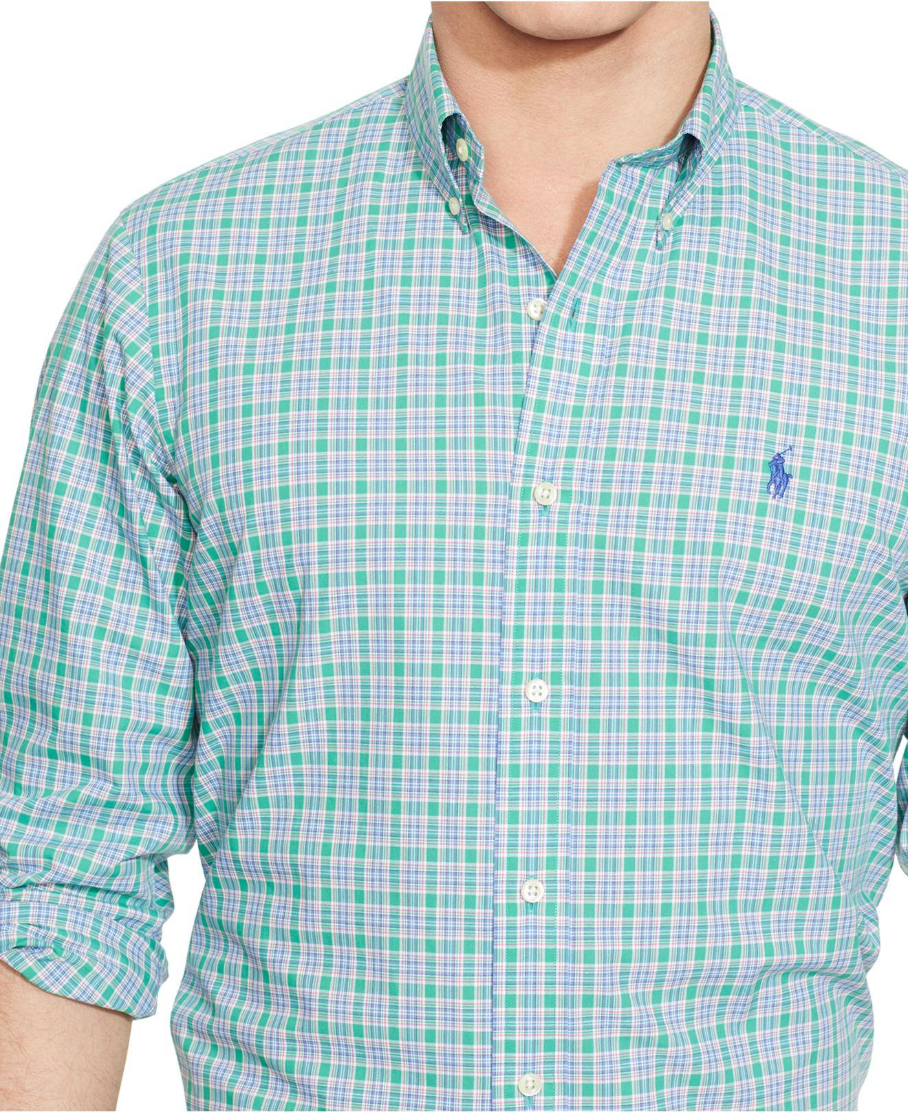 Polo Ralph Lauren Plaid Poplin Shirt In Green For Men Lyst