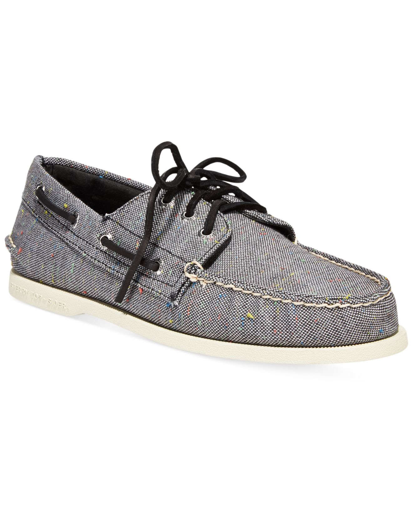 sperry top sider a o 3 eye fleck canvas boat shoes in gray