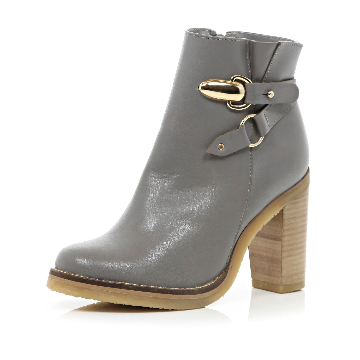 river island grey detail block heel ankle boots in