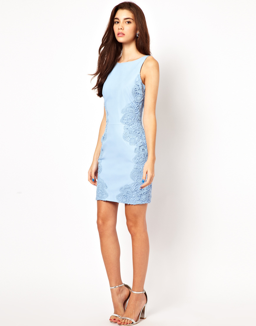 Asos Mini Leather Dress With Lace Applique in Blue | Lyst