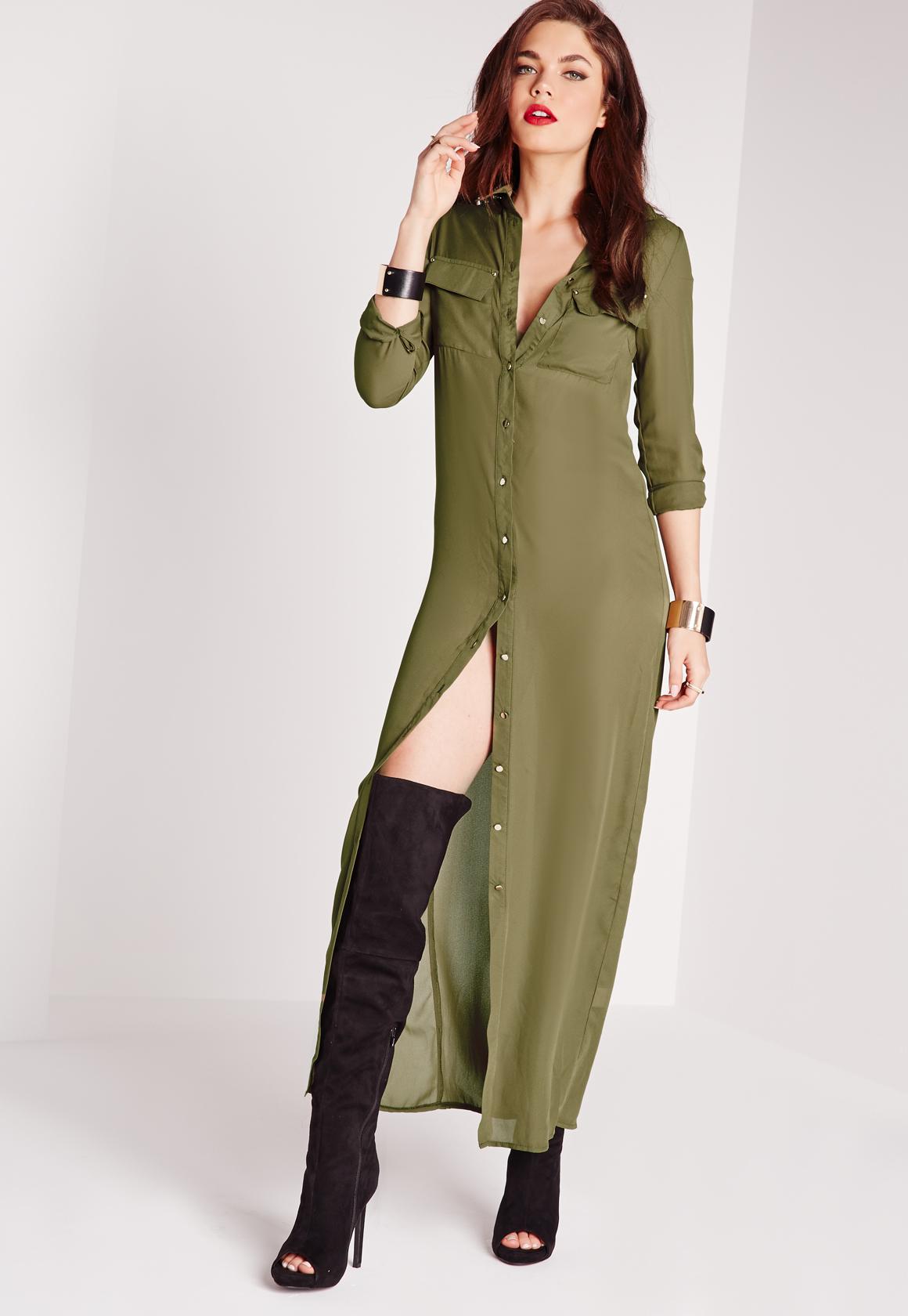Maxi Length Long Sleeve Shirt Dress Khaki