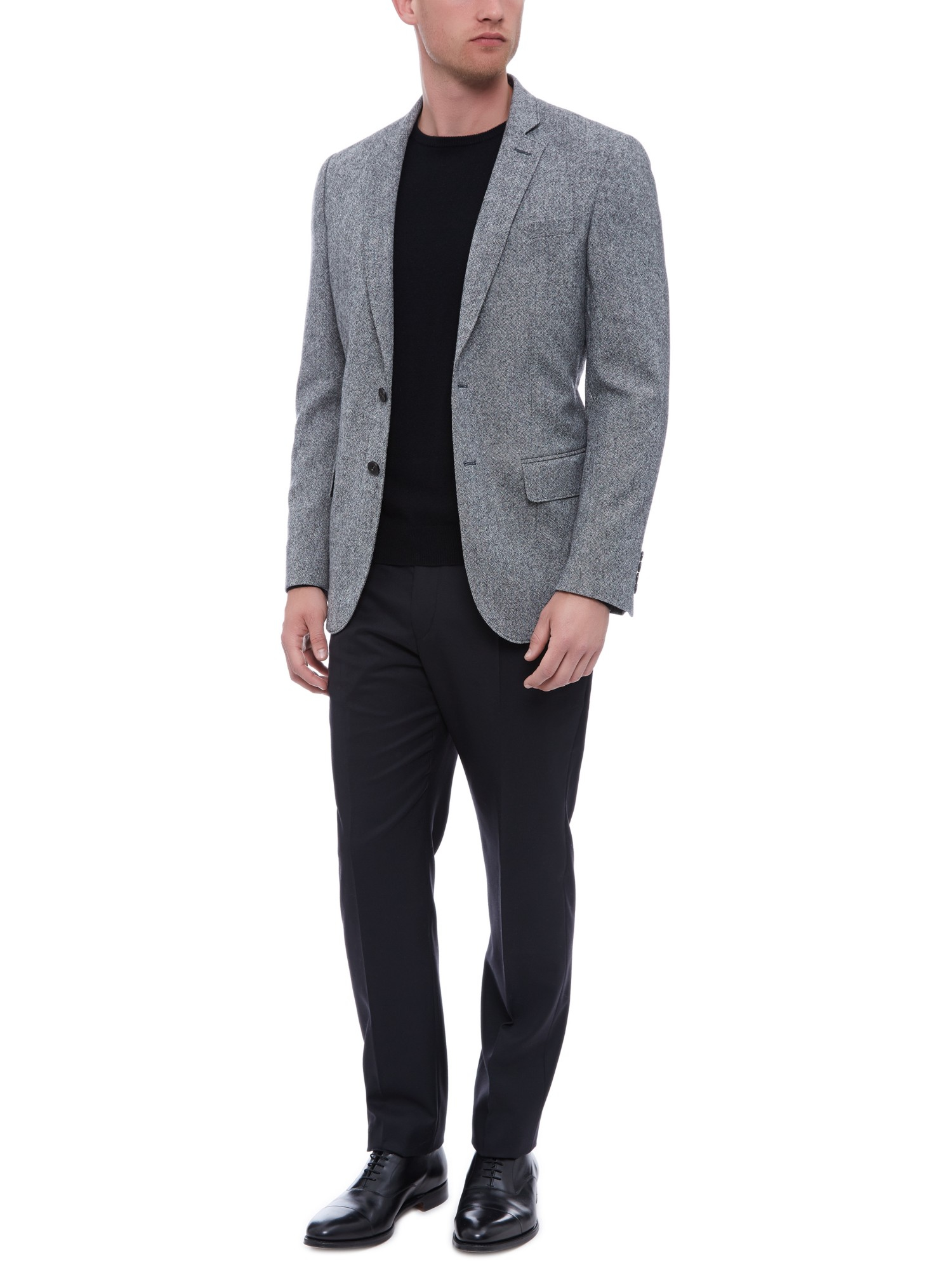 Jaeger Salt Pepper Wool Blazer in Black/White (Black) for Men