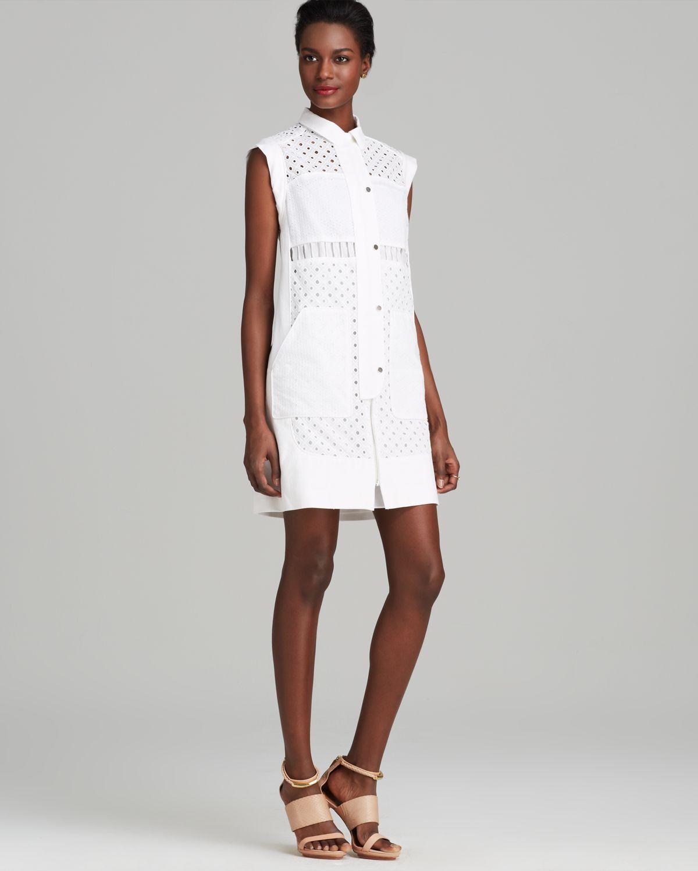 d6dc3e0f536 Rebecca Taylor Dress Cap Sleeve Eyelet Shirt in White - Lyst