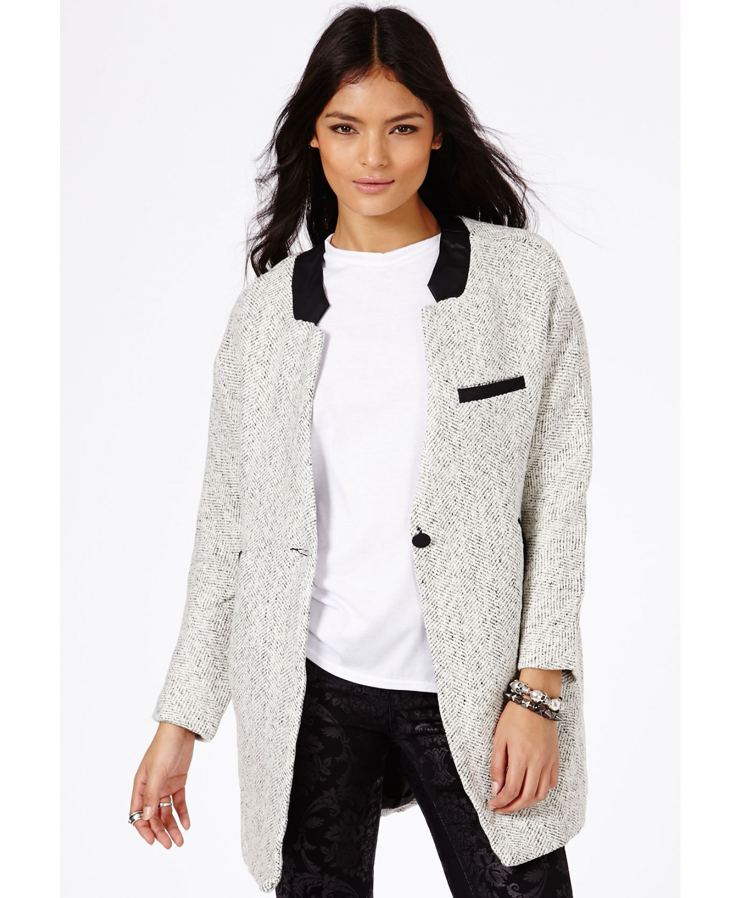 Missguided Petera Tweed Boyfriend Coat with Faux Leather Trim in ...