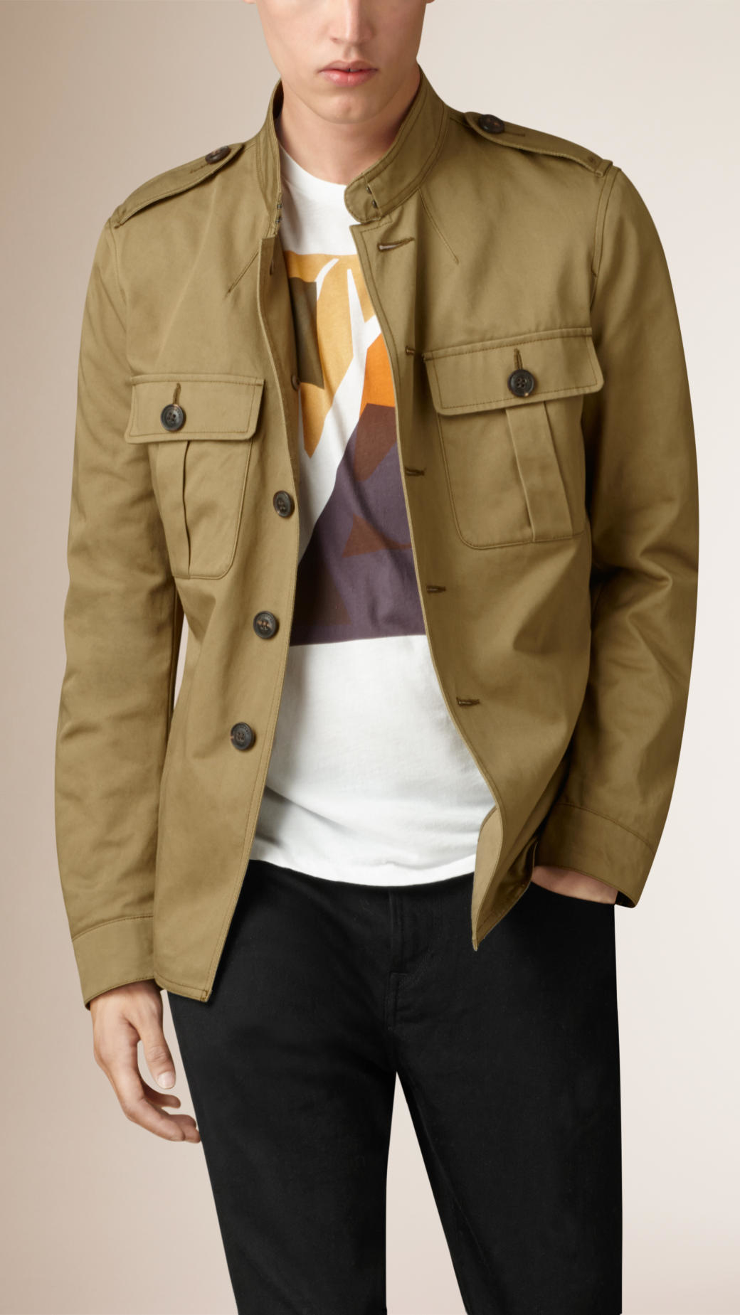 6608d5c8cd72 Lyst - Burberry Cotton Twill Field Jacket in Natural for Men