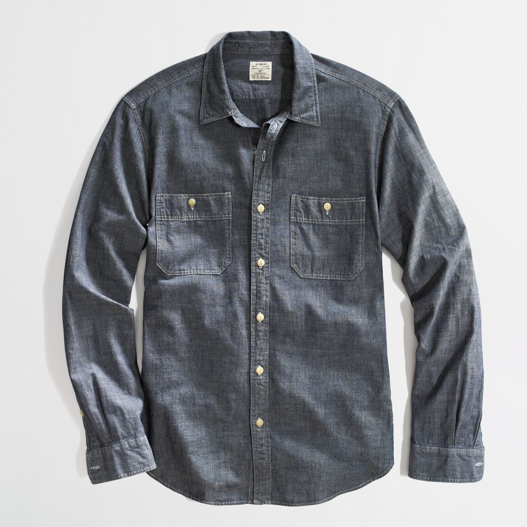 j crew factory chambray workshirt in blue for medium