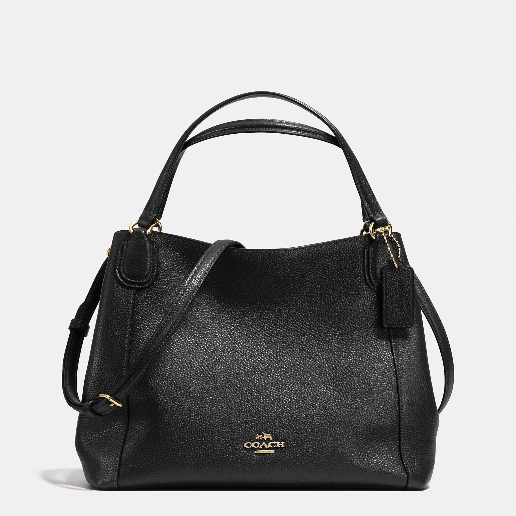 9cdfafcf COACH Black Edie Shoulder Bag 28 In Pebble Leather