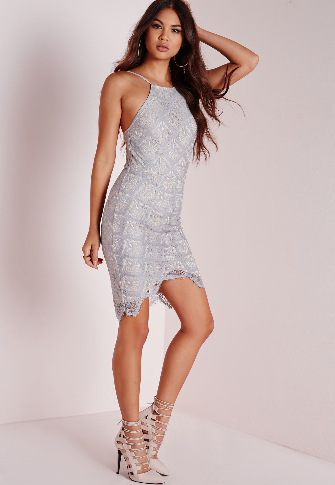 Missguided Lace Bodycon Dress Grey In Grey Lyst