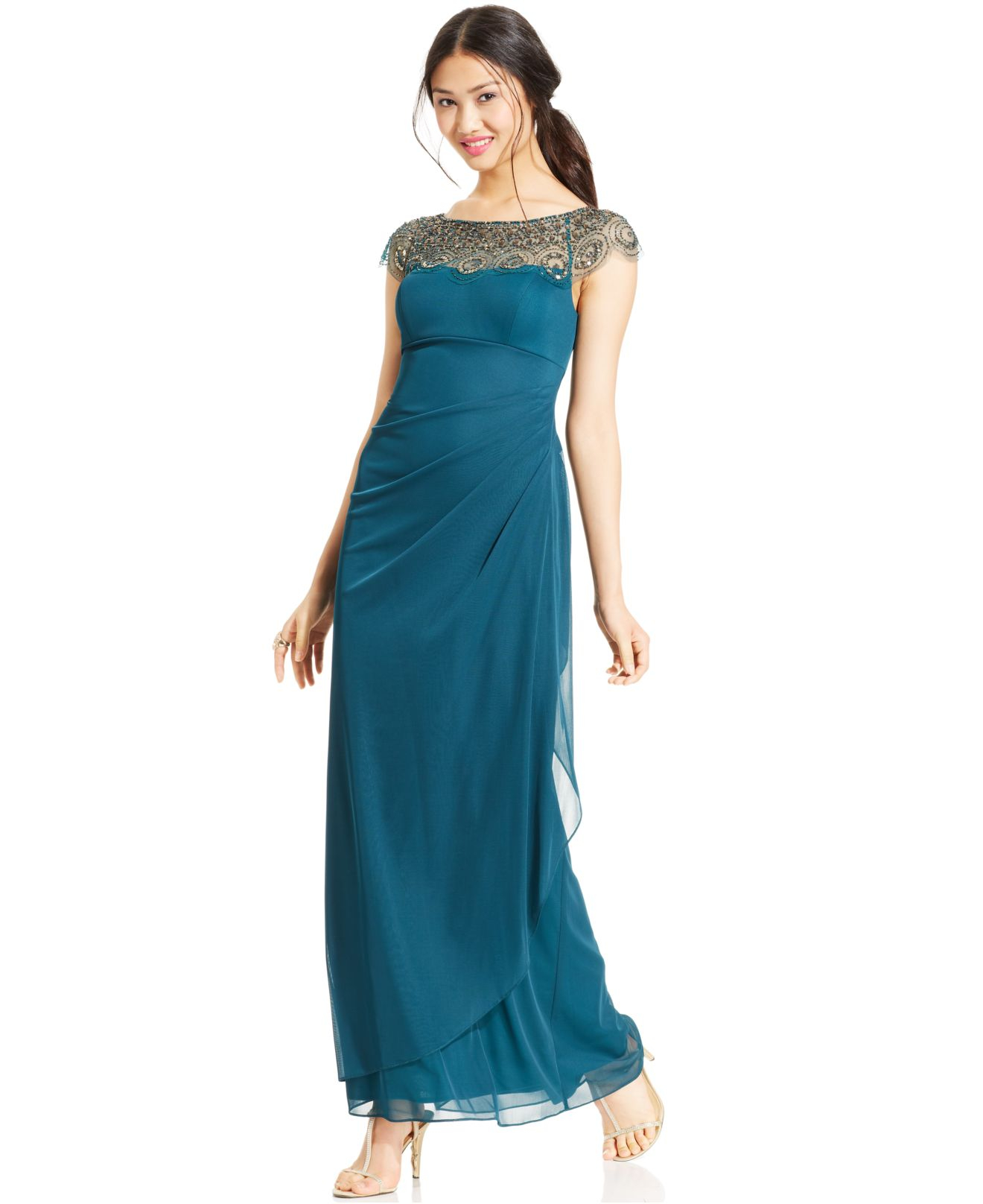 09bb1bf0 Xscape Petite Cap-Sleeve Illusion Beaded Gown in Blue - Lyst