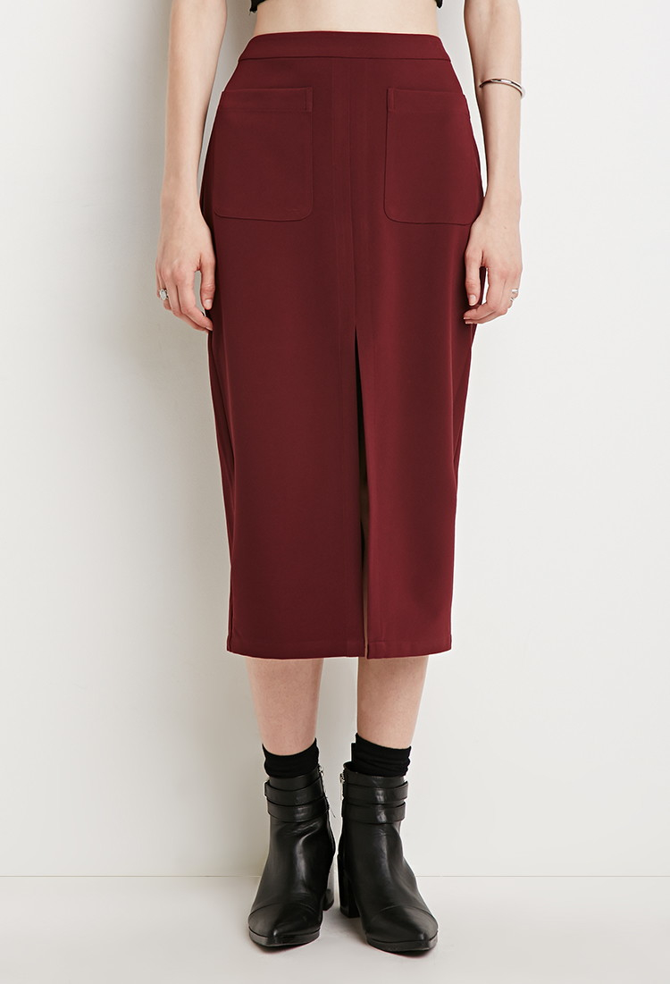 forever 21 contemporary front slit pencil skirt in purple