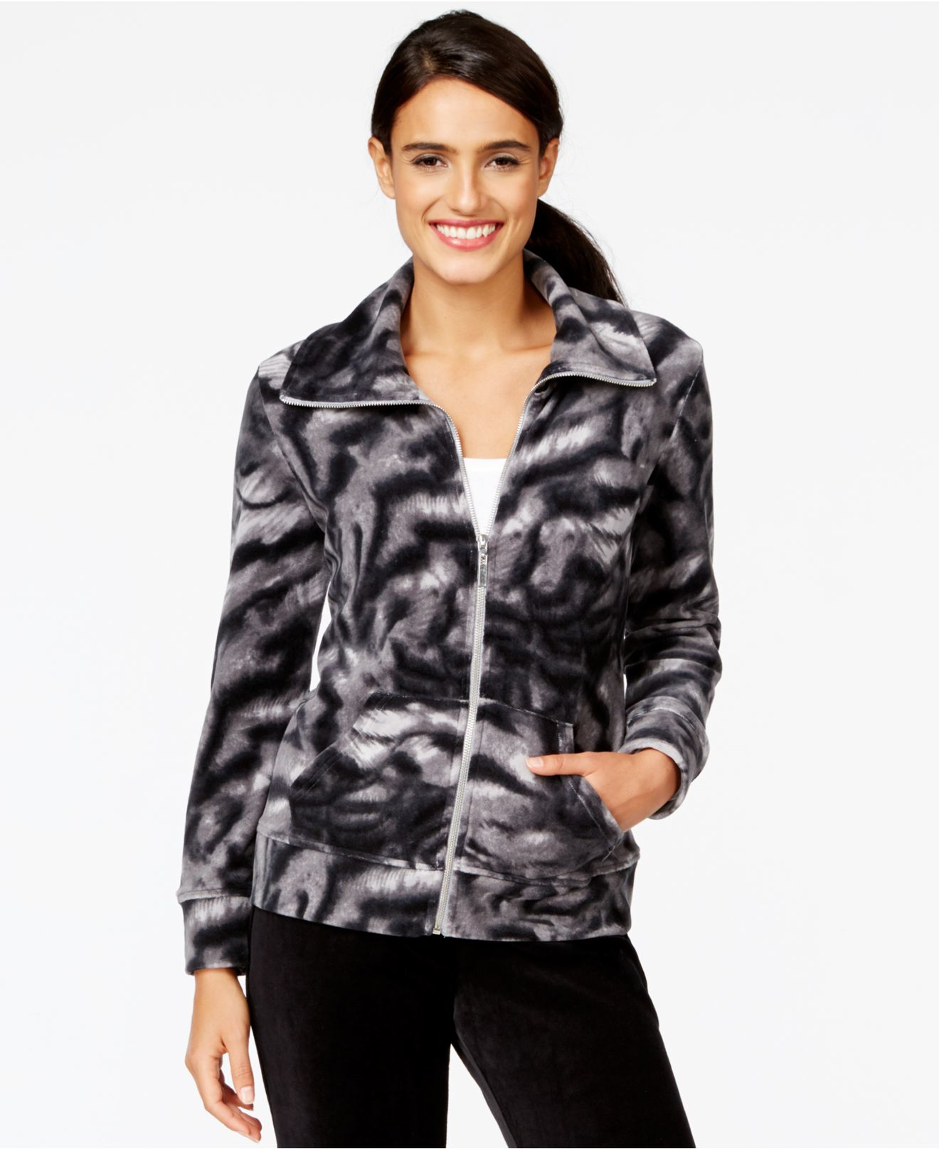 Lyst - Style U0026 Co. Styleu0026co. Petite Wing-collar Printed Jacket Only At Macyu0026#39;s In Black