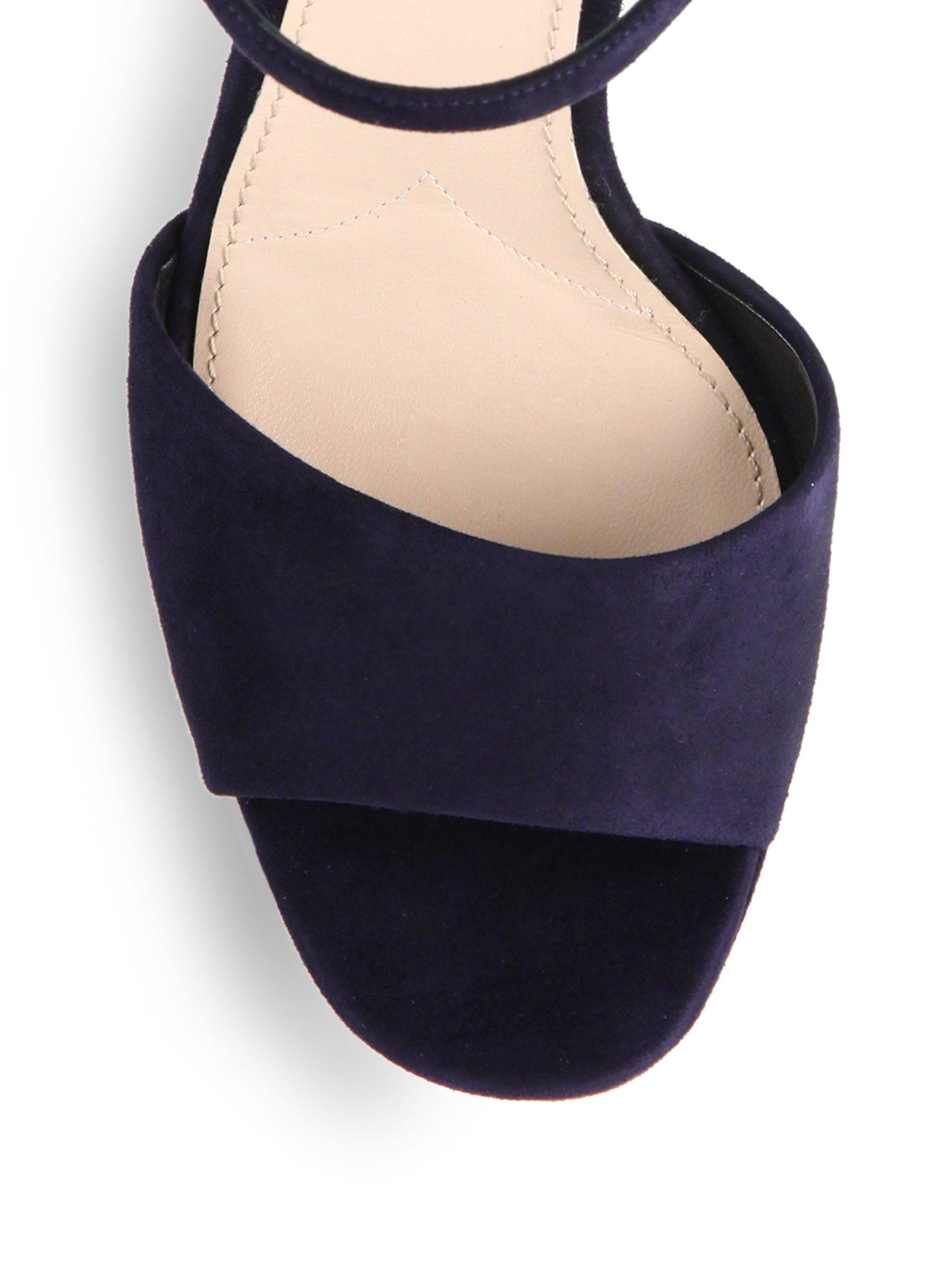 44dbe177d163 Lyst - Miu Miu Crystal Painted Heel Suede Platform Sandals in Blue