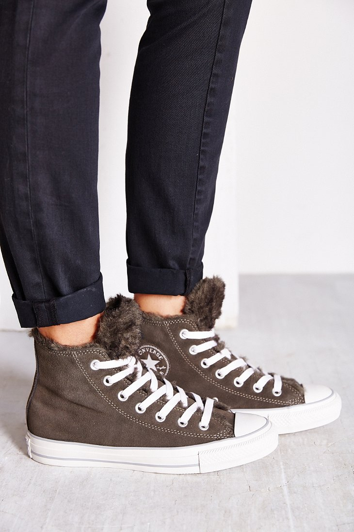 Converse Suede Fur Womens High Top Sneaker In Grey Gray