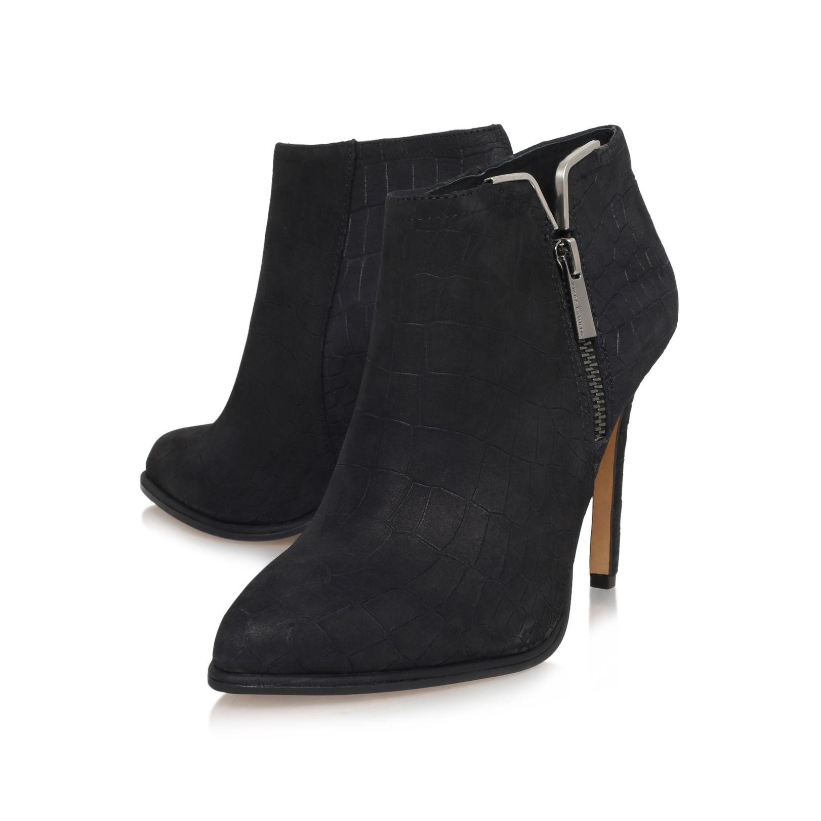 Vince Camuto Lela High Heel Zip Up Shoe Boots In Black