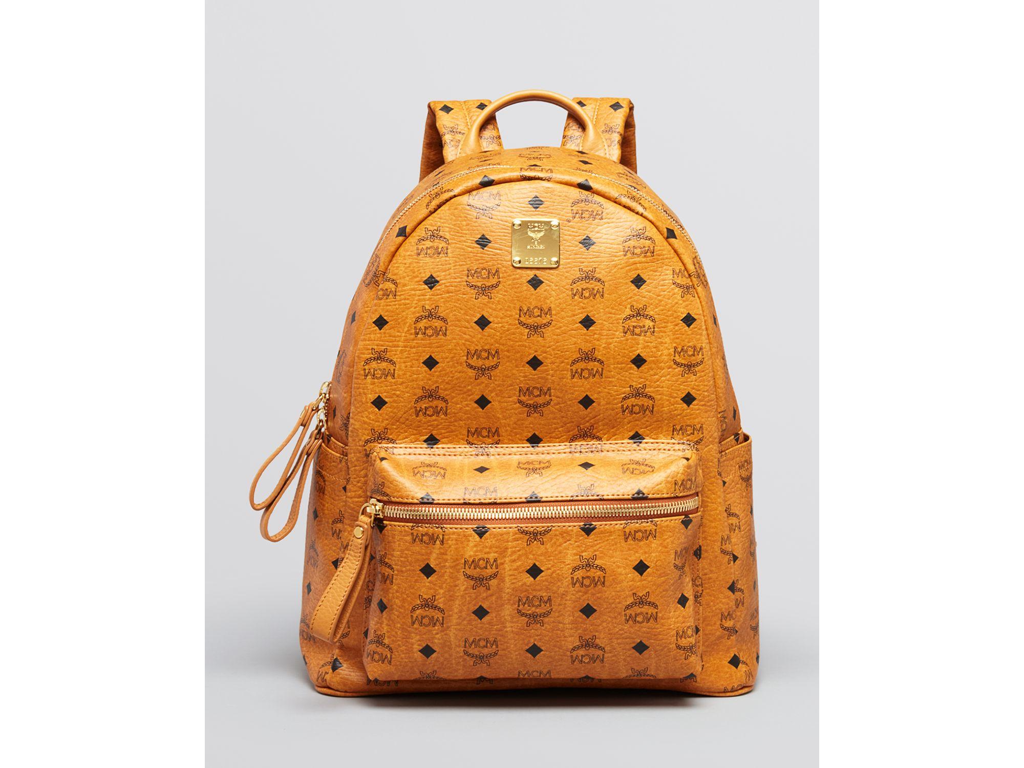 mcm backpack stark medium in orange for men lyst. Black Bedroom Furniture Sets. Home Design Ideas