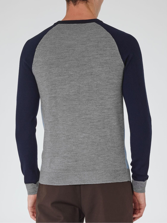 Reiss Twister Colour Block Wool Jumper in Blue for Men