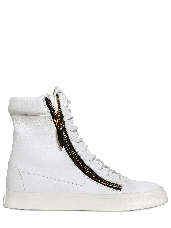 giuseppe zanotti homme grained leather zip sneakers