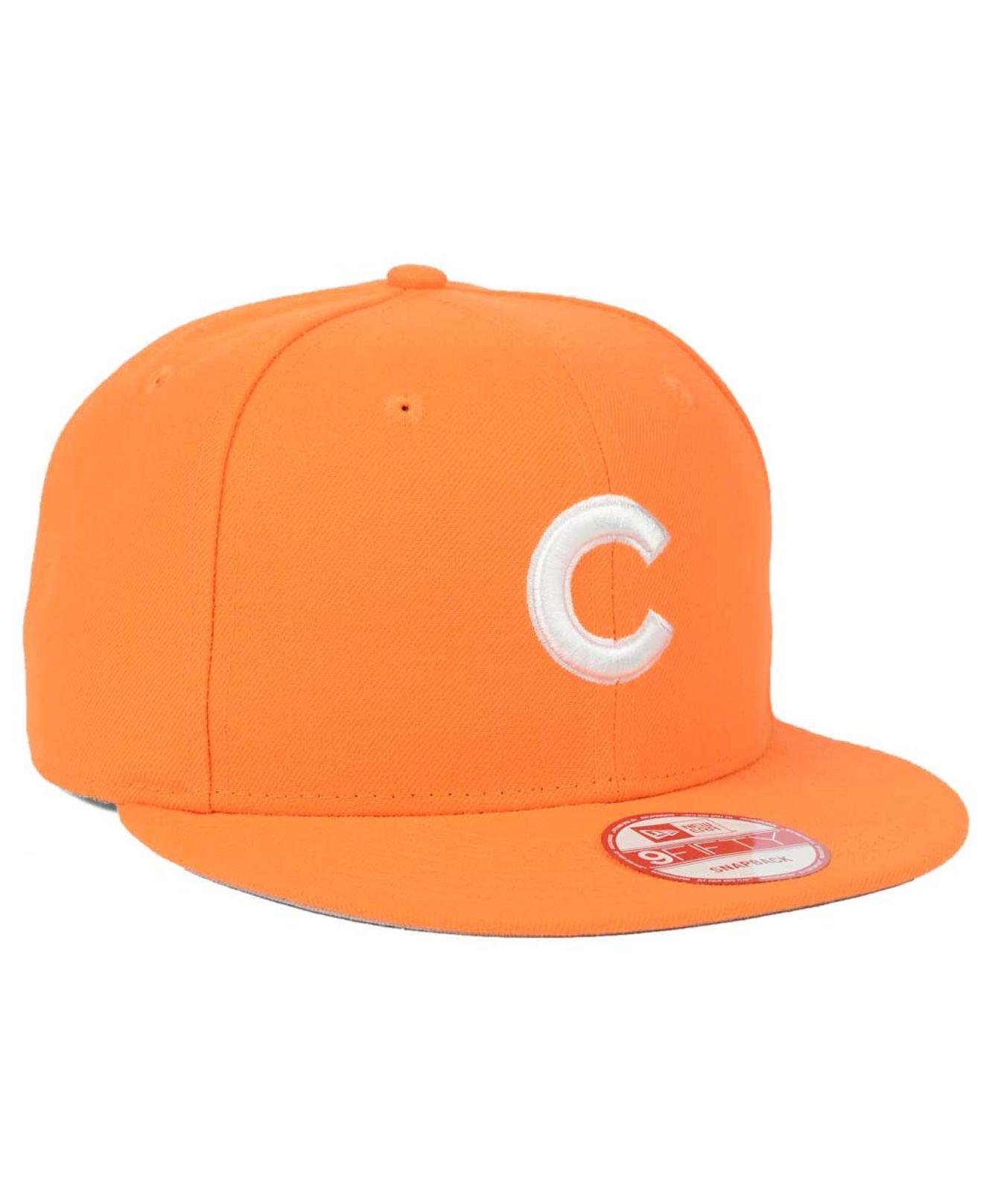 brand new 8adb0 82b1e ... spain lyst ktz chicago cubs c dub 9fifty snapback cap in orange 0deca  3f03c