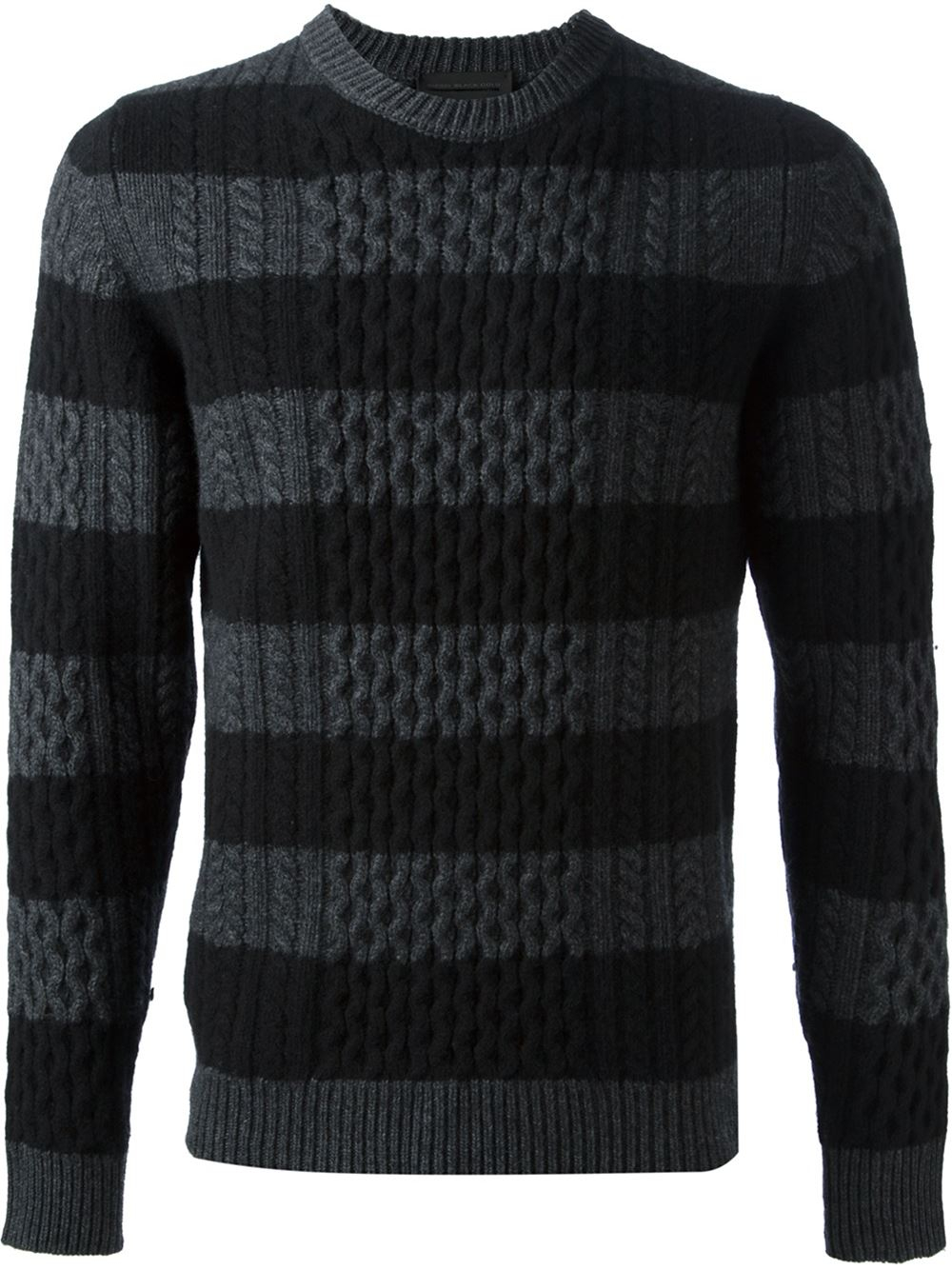 d8aefc3e8d Lyst - Diesel Black Gold Striped Cable Knit Sweater in Black for Men