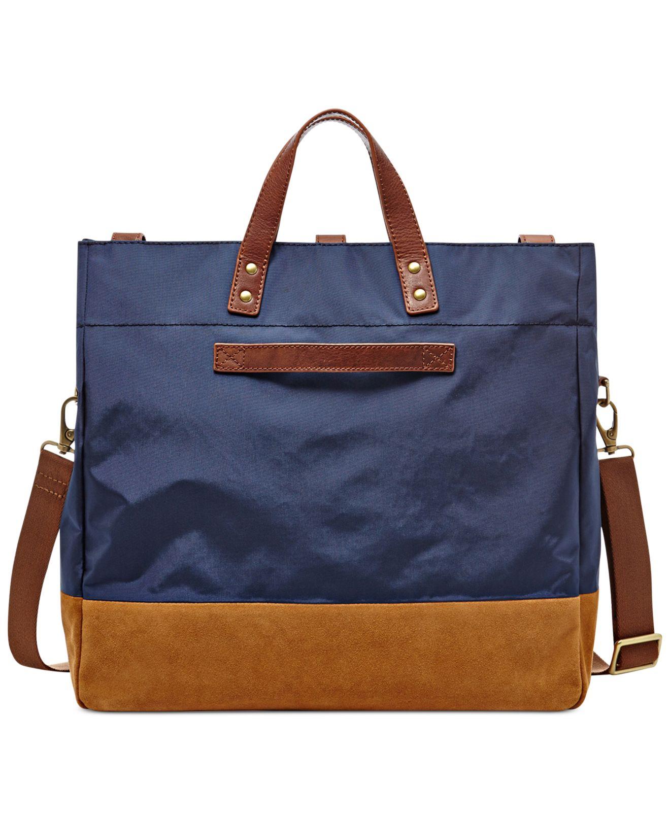 Fossil Gordon Foldover Tote Bag in Blue for Men (Navy)