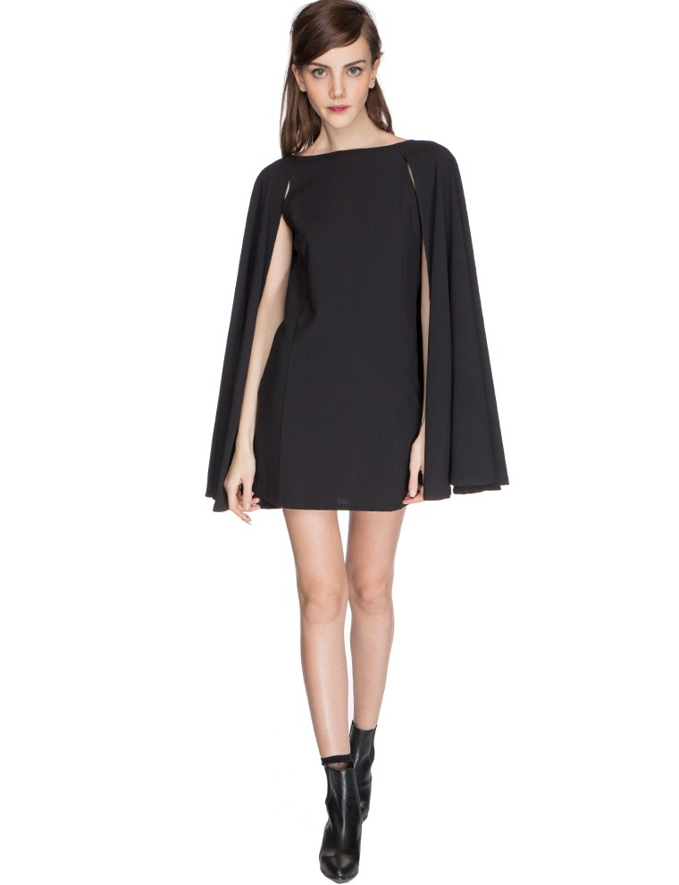 Pixie Market Nadya Little Black Cape Dress In Black Lyst