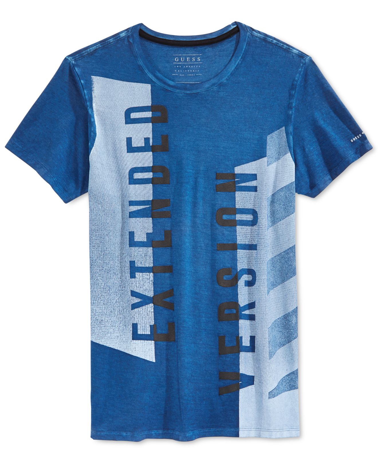 guess extended version t shirt in blue for men lyst. Black Bedroom Furniture Sets. Home Design Ideas