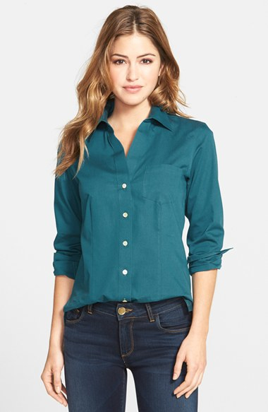 Lyst foxcroft 39 christine 39 no iron cotton shirt in blue for No iron cotton shirts