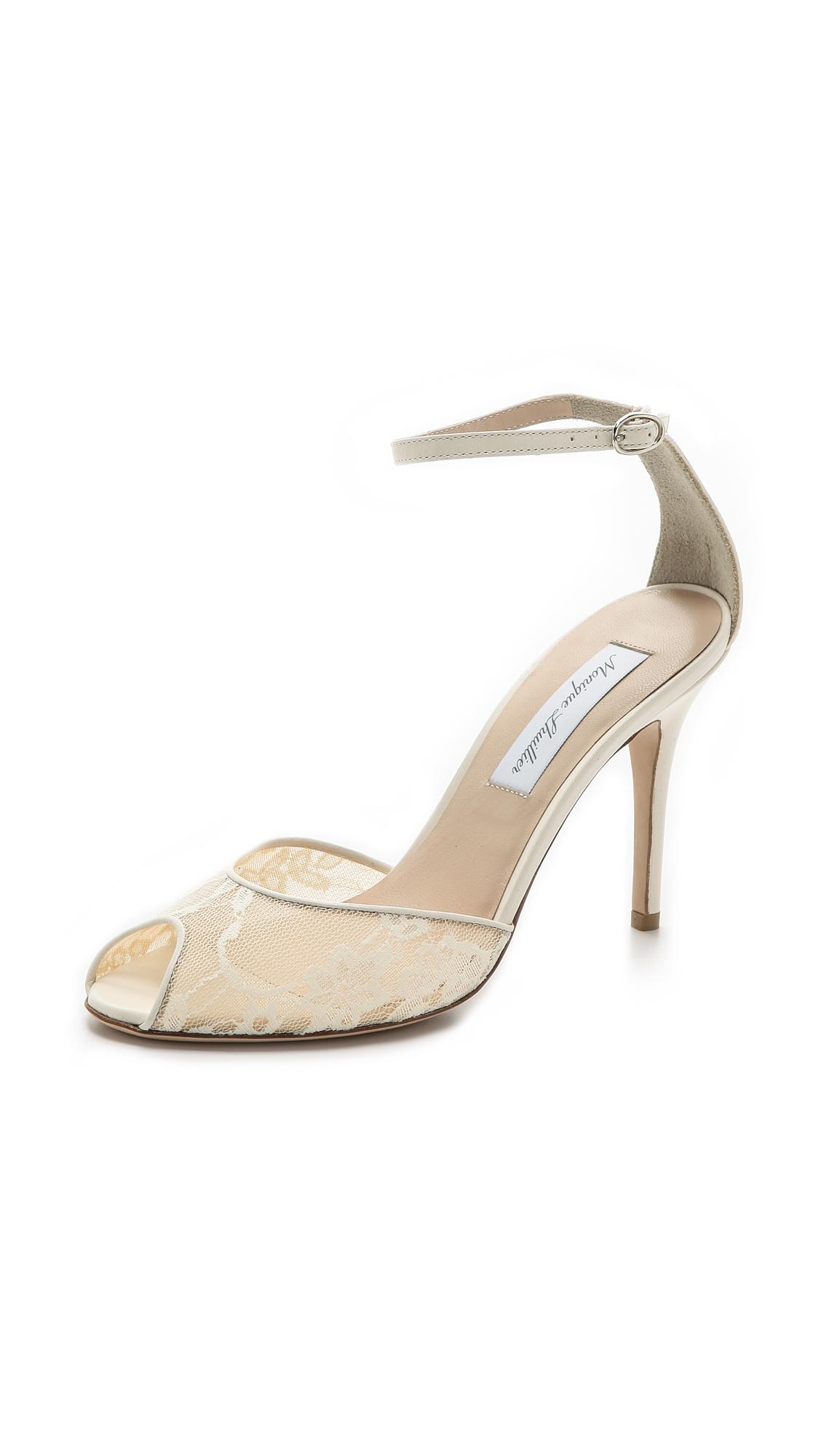 monique lhuillier lace peep toe sandals ivory in beige. Black Bedroom Furniture Sets. Home Design Ideas