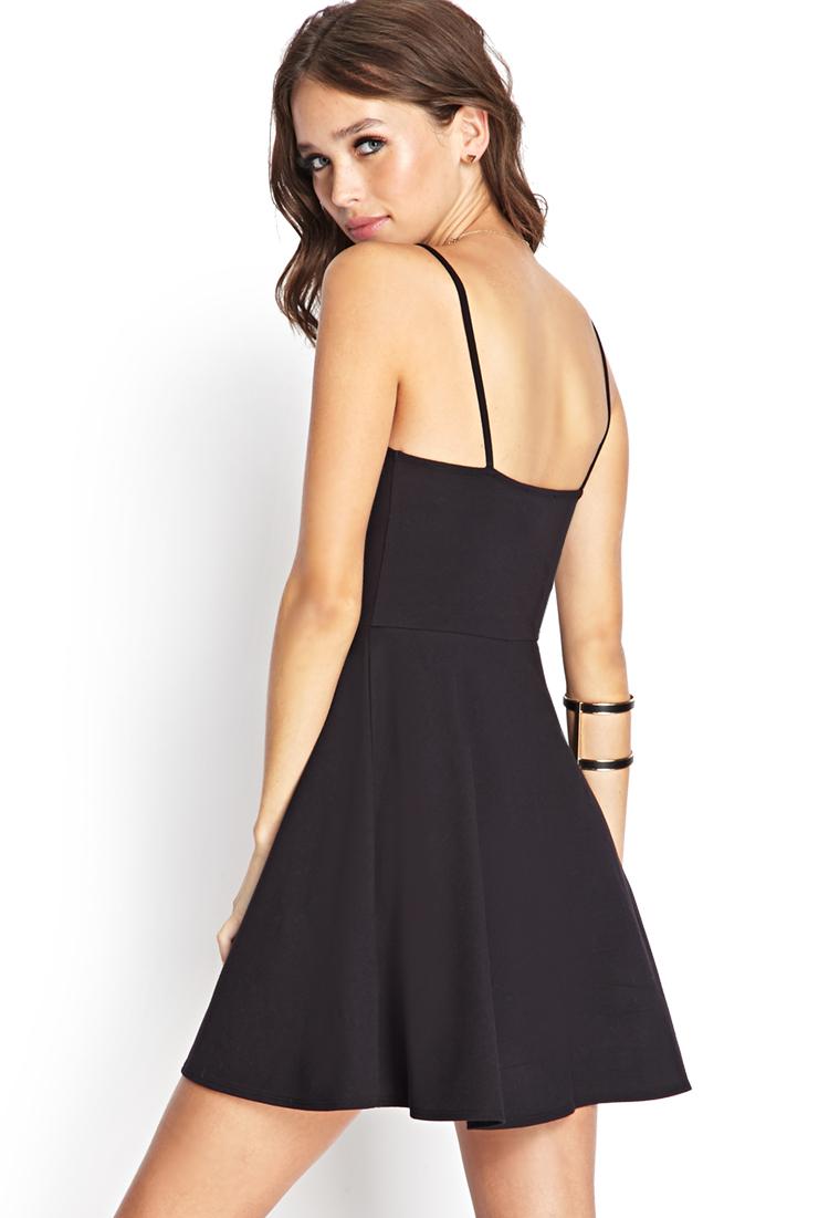 Forever 21 Cami Skater Dress in Black | Lyst