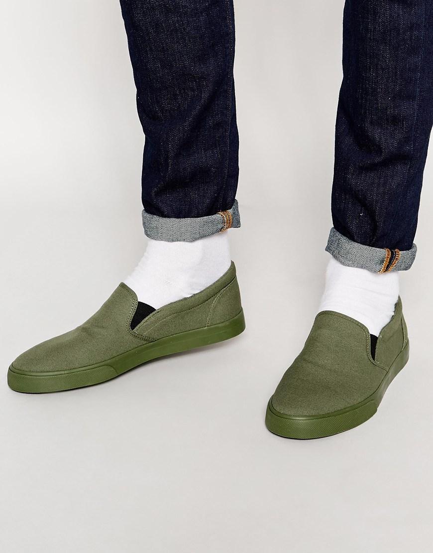 asos slip on plimsolls in khaki canvas in green for lyst