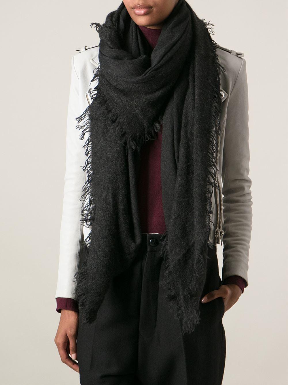 faliero sarti edges oversized scarf in black lyst