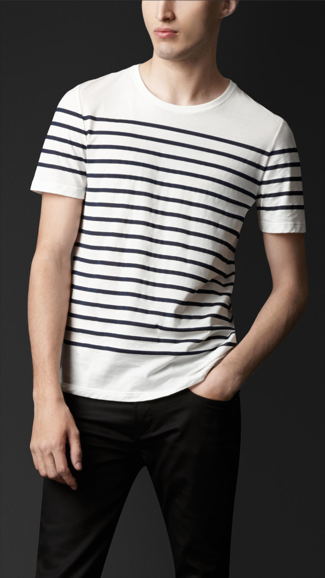 burberry breton stripe cotton tshirt in blue for men lyst. Black Bedroom Furniture Sets. Home Design Ideas