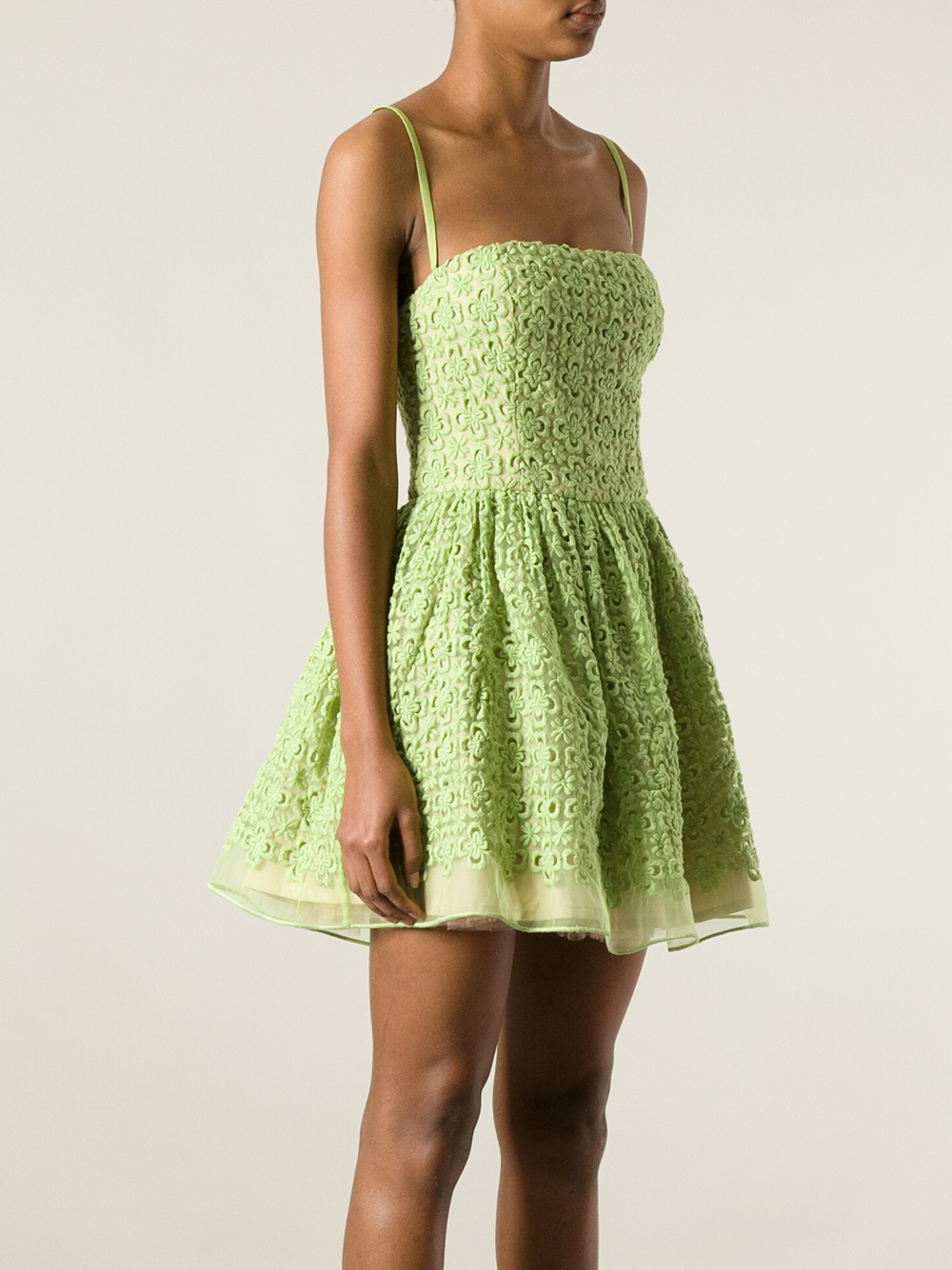 Lyst Red Valentino Embroidered Floral Dress In Green